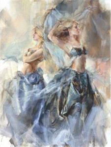 "Anna Razumovskaya Hand Signed and Numbered Limited Edition Artist Embellished Canvas Giclee:""Hesperides 1"""