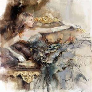"Anna Razumovskaya Hand Signed and Numbered Limited Edition Artist Embellished Canvas Giclee:""English Rose 2"""