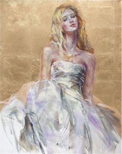 """Anna Razumovskaya Hand Signed and Numbered Limited Edition Artist Embellished Canvas Giclee:""""The Gift"""""""