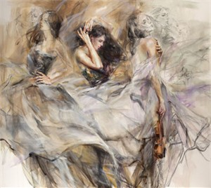 "Anna Razumovskaya Hand Signed and Numbered Limited Edition Artist Embellished Canvas Giclee:""Auburn Melody"""