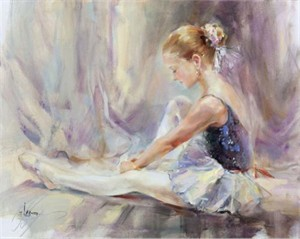 "Anna Razumovskaya Hand Signed and Numbered Limited Edition Artist Embellished Canvas Giclee:""Little Swan"""