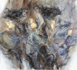 """Anna Razumovskaya Hand Signed and Numbered Limited Edition Artist Embellished Canvas Giclee:""""Liberation"""""""