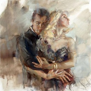 "Anna Razumovskaya Hand Signed and Numbered Limited Edition Artist Embellished Canvas Giclee:""Intensity 2"""