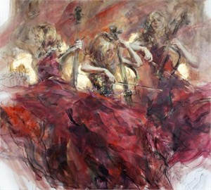"Anna Razumovskaya Hand Signed and Numbered Limited Edition Artist Embellished Canvas Giclee:""Golden Cord"""