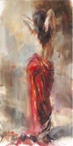 """Anna Razumovskaya Hand Signed and Numbered Limited Edition Artist Embellished Canvas Giclee:""""Aurora in Red 2"""""""