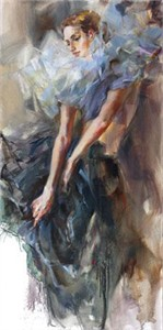 "Anna Razumovskaya Hand Signed and Numbered Limited Edition Artist Embellished Canvas Giclee:""Blue Pierrette2"""