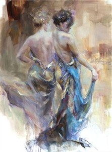 "Anna Razumovskaya Hand Signed and Numbered Limited Edition Artist Embellished Canvas Giclee:""La Belle Epoque"""