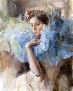 "Anna Razumovskaya Hand Signed and Numbered Limited Edition Artist Embellished Canvas Giclee:""Blue Pierrette1"""