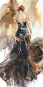 "Anna Razumovskaya Hand Signed and Numbered Limited Edition Artist Embellished Canvas Giclee:""Unfolding Dance 2"""