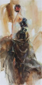 """Anna Razumovskaya Hand Signed and Numbered Limited Edition Artist Embellished Canvas Giclee:""""Unfolding Dance 1"""""""