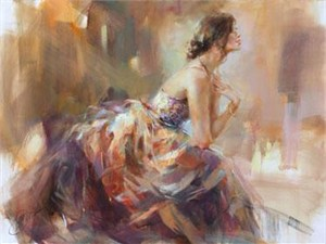 "Anna Razumovskaya Hand Signed and Numbered Limited Edition Artist Embellished Canvas Giclee:""In The Golden Light"""