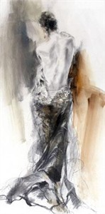 """Anna Razumovskaya Hand Signed and Numbered Limited Edition Artist Embellished Canvas Giclee:""""Acceptance (Sepia)"""""""