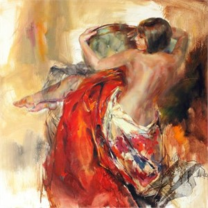 "Anna Razumovskaya Hand Signed and Numbered Limited Edition Artist Embellished Canvas Giclee: ""Pearl Shell"""