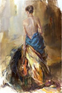 "Anna Razumovskaya Hand Signed and Numbered Limited Edition Artist Embellished Canvas Giclee:""Melody"""