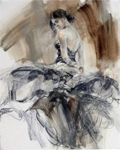 """Anna Razumovskaya Hand Signed and Numbered Limited Edition Artist Embellished Canvas Giclee:""""Flamenco (Sepia 2)"""""""
