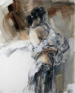 "Anna Razumovskaya Hand Signed and Numbered Limited Edition Artist Embellished Canvas Giclee:""Silent Thoughts (Sepia 2)"""