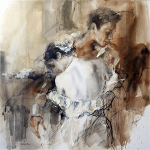 "Anna Razumovskaya Hand Signed and Numbered Limited Edition Artist Embellished Canvas Giclee:""Hold me Close"""