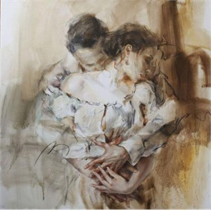 "Anna Razumovskaya Hand Signed and Numbered Limited Edition Artist Embellished Canvas Giclee:""Intertwined"""
