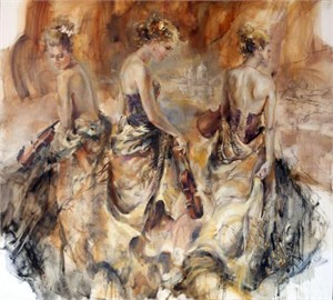 """Anna Razumovskaya Hand Signed and Numbered Limited Edition Artist Embellished Canvas Giclee:""""Ventian Graces (Sepia)"""""""