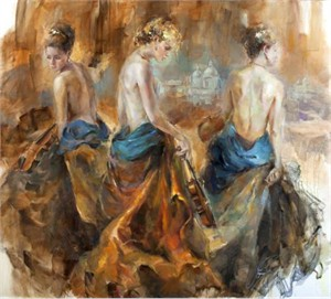 "Anna Razumovskaya Hand Signed and Numbered Limited Edition Artist Embellished Canvas Giclee:""Ventian Graces"""