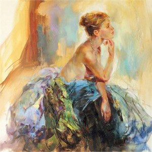 """Anna Razumovskaya Hand Signed and Numbered Limited Edition Artist Embellished Canvas Giclee: """"Contemplation"""""""