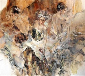 """Anna Razumovskaya Hand Signed and Numbered Limited Edition Artist Embellished Canvas Giclee:""""Past, Present, Future.(Sepia)"""""""