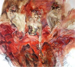 "Anna Razumovskaya Hand Signed and Numbered Limited Edition Artist Embellished Canvas Giclee:""Past, Present, Future"""