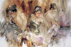 "Anna Razumovskaya Hand Signed and Numbered Limited Edition Artist Embellished Canvas Giclee:""Timeless Dance"""