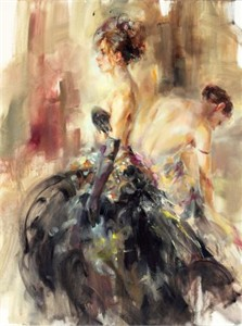 "Anna Razumovskaya Hand Signed and Numbered Limited Edition Artist Embellished Canvas Giclee:""Parisian Nights"""