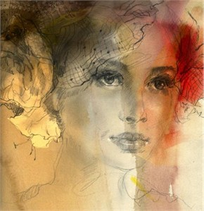 "Anna Razumovskaya Hand Signed and Numbered Limited Edition Artist Embellished Canvas Giclee:""Sense of a Woman 6"""