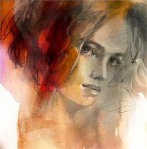 """Anna Razumovskaya Hand Signed and Numbered Limited Edition Artist Embellished Canvas Giclee:""""Sense of a Woman 5"""""""