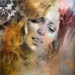 """Anna Razumovskaya Hand Signed and Numbered Limited Edition Artist Embellished Canvas Giclee:""""Essense of a Woman"""""""