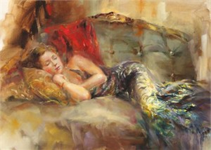 "Anna Razumovskaya Hand Signed and Numbered Limited Edition Artist Embellished Canvas Giclee: ""Velvet Dream"""