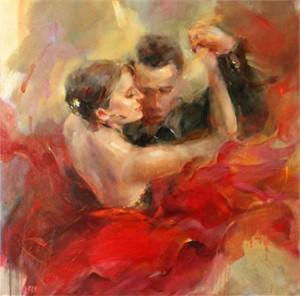 "Anna Razumovskaya Hand Signed and Numbered Limited Edition Artist Embellished Canvas Giclee: ""Tango Ballad"""