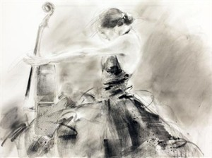 "Anna Razumovskaya Hand Signed and Numbered Limited Edition Artist Embellished Canvas Giclee: ""High Note"""