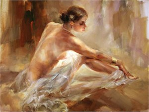 "Anna Razumovskaya Hand Signed and Numbered Limited Edition Artist Embellished Canvas Giclee: ""Olga"""