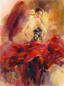 "Anna Razumovskaya Hand Signed and Numbered Limited Edition Artist Embellished Canvas Giclee: ""Giro 1"""