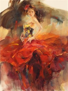 "Anna Razumovskaya Hand Signed and Numbered Limited Edition Artist Embellished Canvas Giclee: ""Giro 2"""