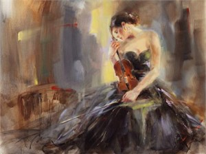 "Anna Razumovskaya Hand Signed and Numbered Limited Edition Artist Embellished Canvas Giclee: ""Intermission 3"""
