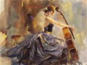 "Anna Razumovskaya Hand Signed and Numbered Limited Edition Artist Embellished Canvas Giclee: ""Intermission 2"""