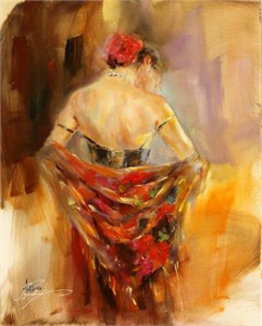 "Anna Razumovskaya Hand Signed and Numbered Limited Edition Artist Embellished Canvas Giclee: ""Foulard Rouge 1"""