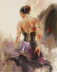 "Anna Razumovskaya Hand Signed and Numbered Limited Edition Artist Embellished Canvas Giclee: ""Allez"""