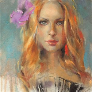"Anna Razumovskaya Hand Signed and Numbered Limited Edition Artist Embellished Canvas Giclee: ""Purple Flower"""