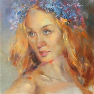 """Anna Razumovskaya Hand Signed and Numbered Limited Edition Artist Embellished Canvas Giclee: """"Blue Flower"""""""