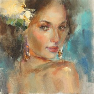 "Anna Razumovskaya Hand Signed and Numbered Limited Edition Artist Embellished Canvas Giclee: ""Yellow Flower"""