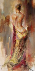 "Anna Razumovskaya Hand Signed and Numbered Limited Edition Artist Embellished Canvas Giclee: ""The Purple Shawl"""