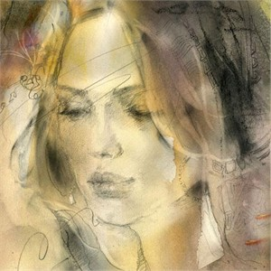 "Anna Razumovskaya Hand Signed and Numbered Limited Edition Artist Embellished Canvas Giclee: ""Soft Touch 2"""