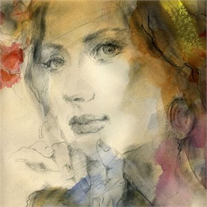 "Anna Razumovskaya Hand Signed and Numbered Limited Edition Artist Embellished Canvas Giclee: ""Soft Touch 1"""
