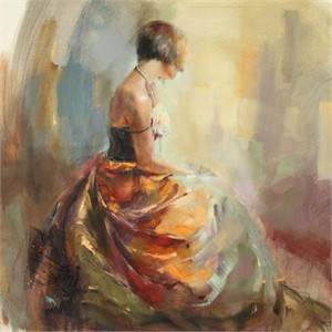 "Anna Razumovskaya Hand Signed and Numbered Limited Edition Artist Embellished Canvas Giclee: ""Pearl Necklace"""