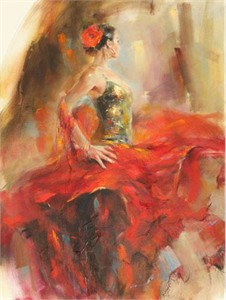 "Anna Razumovskaya Hand Signed and Numbered Limited Edition Artist Embellished Canvas Giclee: ""Gypsy Dancer"""
